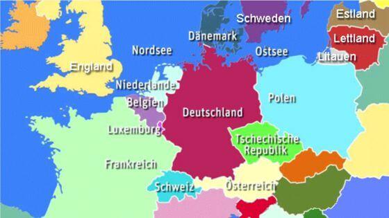 die Nachbarlaender von Deutschland